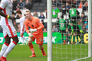 MK Dons goalkeeper Wieger Sietsma(13) is beaten for the second time during the EFL Sky Bet League 1 match between Milton Keynes Dons and Scunthorpe United at stadium:mk, Milton Keynes, England on 28 April 2018. Picture by Nigel Cole.