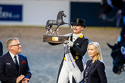 Werth Isabell, GER, De Vos Ingmar, BEL<br /> Göteborg - Gothenburg Horse Show 2019 <br /> FEI Dressage World Cup™ Final II<br /> Grand Prix Freestyle/Kür - Prix giving ceremony<br /> Longines FEI Jumping World Cup™ Final and FEI Dressage World Cup™ Final<br /> 06. April 2019<br /> © www.sportfotos-lafrentz.de/Stefan Lafrentz