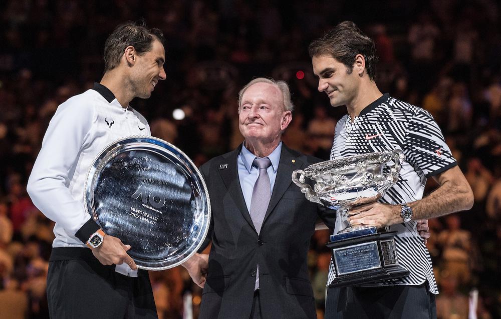 Roger Federer, Rafael Nadal and Rod Laver after the men's final on day fourteen of the 2017 Australian Open at Melbourne Park on January 29, 2017 in Melbourne, Australia.<br /> (Ben Solomon/Tennis Australia)