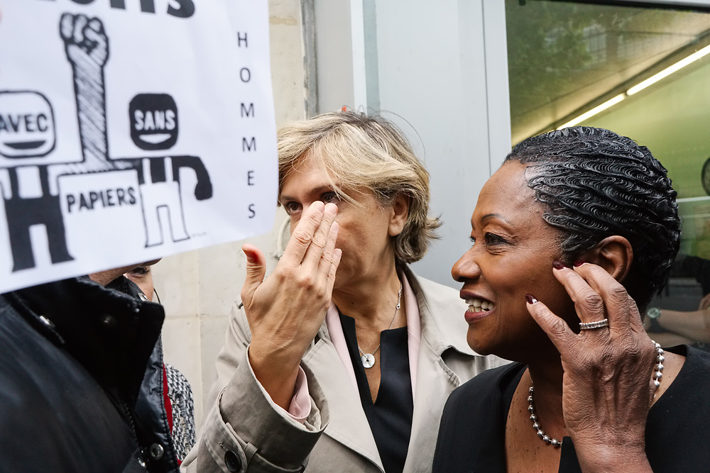 "France, Paris, 19 May 2017. Following the Petition by the associations ""SOS La Chapelle"" and ""Demain La Chapelle"" regarding the women's insecurity in the ""La Chapelle-Pajol"" district, north-east of Paris, candidate of the ""Les Républicains"" party for the legislative elections, Elizabeth de Rozières (Babette de Rozières), Called an action to promote the petition. Activists Counter-protest to denounce the stigmatisation of immigrants.The president of regional council of Ile-de-France Valerie Pécresse came to support the action and candidacy of Rozières."