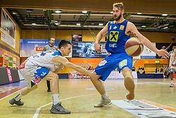 03.12.2017, Walfersamhalle, Kapfenberg, AUT, ABL, ece Bulls Kapfenberg vs UBSC Raifeisen Graz, 10. Runde, im Bild Tobias Schrittwieser (Kapfenberg), Darien Nelson-Henry (Graz) // during the ABL, 10 th round, between ece Bulls Kapfenberg and UBSC Raifeisen Graz at the Sportscenter Walfersam, Kapfenberg, Austria on 2017/12/03, EXPA Pictures © 2017, PhotoCredit: EXPA/ Dominik Angerer