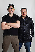 """Los Angeles, California: Portrait of writer/director brothers Anthony (glasses) and Joe (black jacket) Russo who have gone from indie film gigs to overseeing the new chapter of """"Captain America,"""" 2/21/14  (Photo: Ann Summa)."""