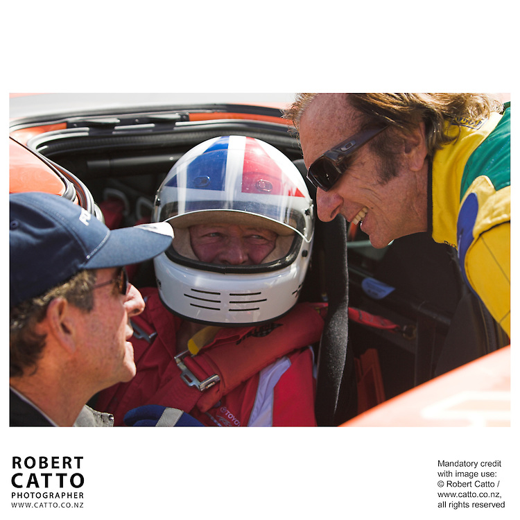 Steve Millen;Chris Amon;Emerson Fittipaldi at the A1 Grand Prix of New Zealand at the Taupo Motorsport Park, Taupo, New Zealand.
