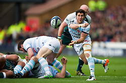 Maxime Machenaud of Racing 92 passes the ball - Mandatory byline: Patrick Khachfe/JMP - 07966 386802 - 24/04/2016 - RUGBY UNION - The City Ground - Nottingham, England - Leicester Tigers v Racing 92 - European Rugby Champions Cup Semi Final.