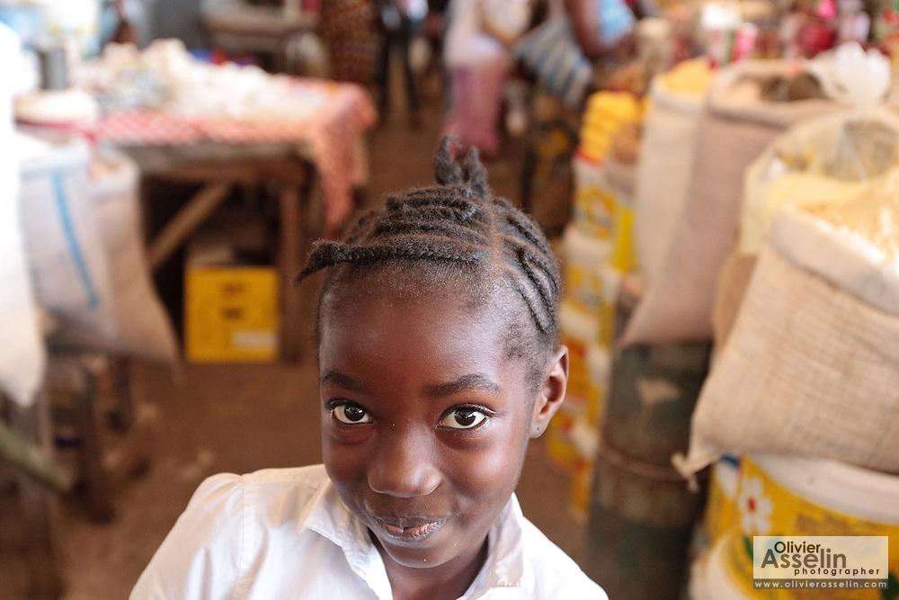 Portrait of a girl at Nancy B. Doe market in Monrovia, Montserrado county, Liberia on Thursday April 5, 2012.