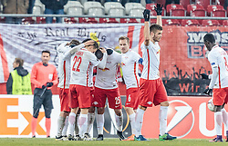 08.12.2016, Red Bull Arena, Salzburg, AUT, UEFA EL, FC Red Bull Salzburg vs Schalke 04, Gruppe I, im Bild Torjubel FC Salzburg nach dem 2:0 durch Josip Radosevic (FC Red Bull Salzburg) // Goal Celebration Salzburg after Josip Radosevic (FC Red Bull Salzburg) scores the 2:0 during the UEFA Europa League group I match between FC Red Bull Salzburg and Schalke 04 at the Red Bull Arena in Salzburg, Austria on 2016/12/08. EXPA Pictures © 2016, PhotoCredit: EXPA/ JFK