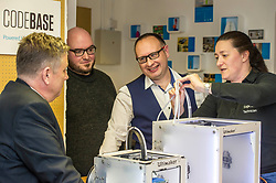 Pictured: Keith Brown with Stuart Brown (white shirt) Head of SME Barclays banking, Scotland and Stephen Coleman, CEO and founder of Codebase watch as engineer Sharon Jones, ensures the 3-d printer is operational.<br /> Today Keith Brown MSP opened Scotland's first Barclays Eagle lab in partnership with CodeBase. The resource allows businesses and communities to access new technologies and boost digital skills while supporting job creation in the local economy. <br /> <br /> Ger Harley | EEm 16 January 2018