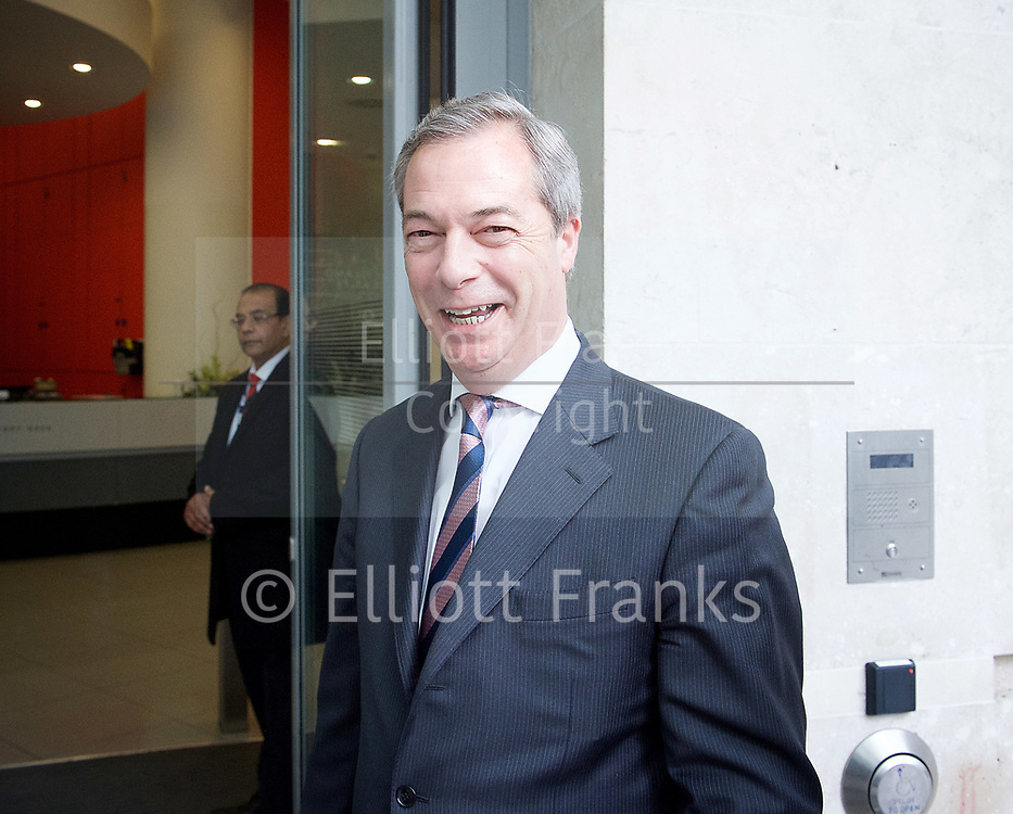 Andrew Marr Show departures<br /> BBC, Broadcasting House, London, Great Britain <br /> 12th March 2017 <br /> <br /> Nigel Farage MEP <br /> <br /> <br /> Photograph by Elliott Franks <br /> Image licensed to Elliott Franks Photography Services