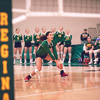 5th year outside hitter, Ashlee Sandiford (1) of the Regina Cougars during the Women's Volleyball home game on Sat Jan 26 at Centre for Kinesiology, Health & Sport. Credit: Arthur Ward/Arthur Images