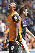 Hull City striker Abel Hernandez (9) in dispair it missing a shot at goal  during the Sky Bet Championship match between Hull City and Rotherham United at the KC Stadium, Kingston upon Hull, England on 7 May 2016. Photo by Ian Lyall.