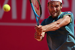 May 6, 2018 - Estoril, Portugal - Joao Sousa of Portugal returns a ball to Frances Tiafoe of US during the Millennium Estoril Open ATP 250 tennis tournament final, at the Clube de Tenis do Estoril in Estoril, Portugal on May 6, 2018. (Credit Image: © Pedro Fiuza via ZUMA Wire)
