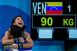 October 7, 2018 - Buenos Aires, Argentina - 181007 2018 Youth Olympic Games, Day 1: Katherin Oriana Echandia Zarate VEN celebrates jubilantly with her coach after winning the Gold Medal with a successful lift of 90kg during the Group A round in the Weightlifting Women's 44kg in the Europa Pavilion, Youth Olympic Park during The Youth Olympic Games, Buenos Aires, Argentina, Sunday 7th October 2018. Photo: Gabriel Heusi for OIS/IOC. Handout image supplied by OIS/IOC  (Credit Image: © Gabriel Heusi For Ois/Bildbyran via ZUMA Press)
