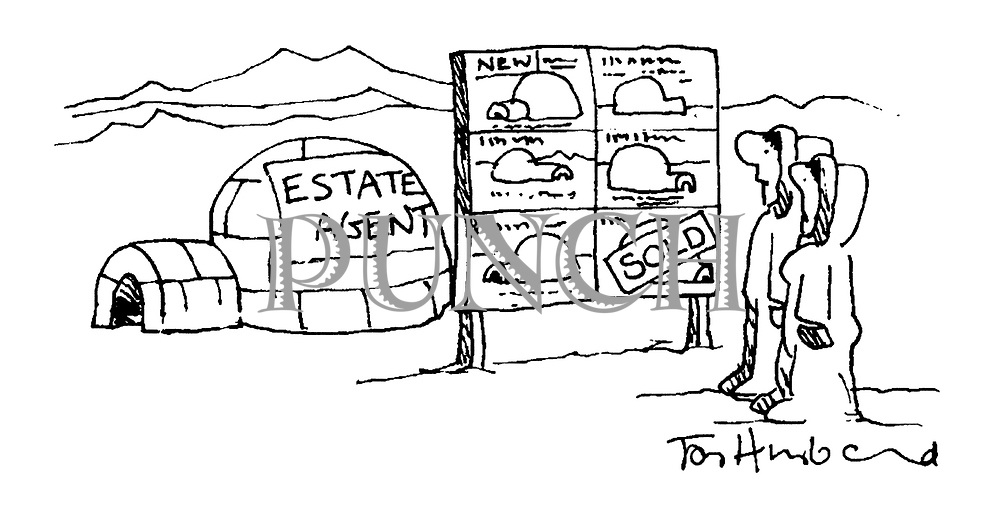 (Two Eskimos house hunting at an arctic Estate Agent with igloos for sale)