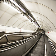 Escalators in the London Underground. London, United Kingdom.