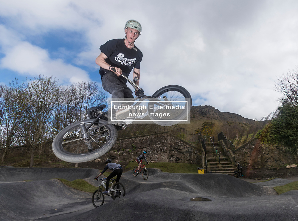 """A new bike park for mountain bikers has opened in the centre of Edinburgh. The Skelf Bike park has a 900m2 """"Pump Track"""" of banked corners and mounds. The park opens today and had professional riders trying out the new track.<br /> <br /> Pictured: Sean James Mcgilly who rides with the Twenty 20 team"""