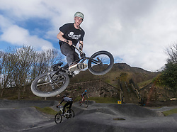 A new bike park for mountain bikers has opened in the centre of Edinburgh. The Skelf Bike park has a 900m2 &quot;Pump Track&quot; of banked corners and mounds. The park opens today and had professional riders trying out the new track.<br /> <br /> Pictured: Sean James Mcgilly who rides with the Twenty 20 team