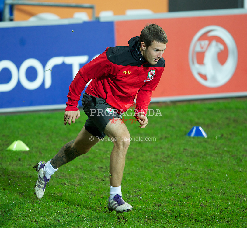 CARDIFF, WALES - Friday, November 11, 2011: Wales' Craig Bellamy during a training session at the Cardiff City Stadium ahead of the friendly match against Norway. (Pic by David Rawcliffe/Propaganda)