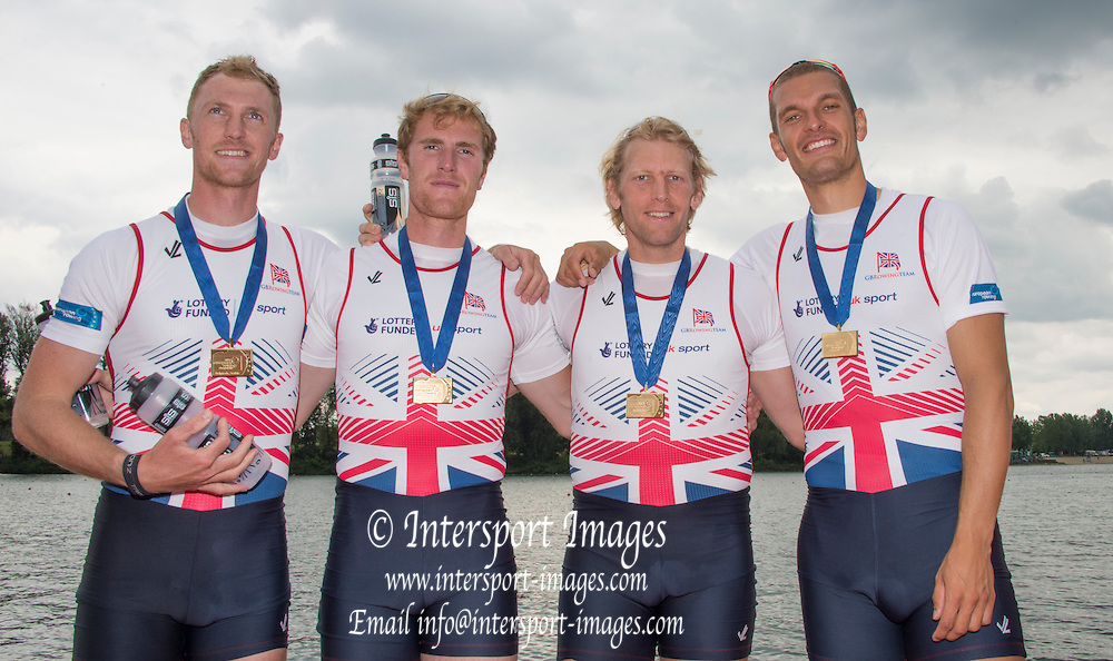 Belgrade, SERBIA,  A Finals GBR M4-. left to right, Alex GREGORY, Mo SBIHI, George NASH and Andy TRIGGS HODGE,  at the 2014 FISA  at the 2014 FISA European Rowing Championships. Lake Sava. <br /> <br /> <br /> 12:48:39  Sunday  01/06/2014<br /> <br /> [Mandatory Credit; Peter Spurrier/Intersport-images]