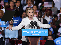November 1, 2016 - Ft Lauderdale, FL, United States - Democratic presidential nominee Hillary Clinton speaks during a campaign rally at the Rev Samuel Deleove Memorial Park on November 1, 2016 in Ft Lauderdale, Florida  (Credit Image: © Solar/Ace Pictures via ZUMA Press)