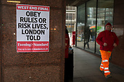 As the Coronavirus pandemic spreads across the UK, businesses and entertainment venues not already closed with the threat of job losses, struggle to stay open with growing rumours of a lockdown and travel restrictions around the capital. As the majority of Londoners start to work from home, others travel through Victoria where the latest news headline reports of growing rumours of a lockdown and extended travel restrictions in the capital, on 19th March 2020, in London, England.