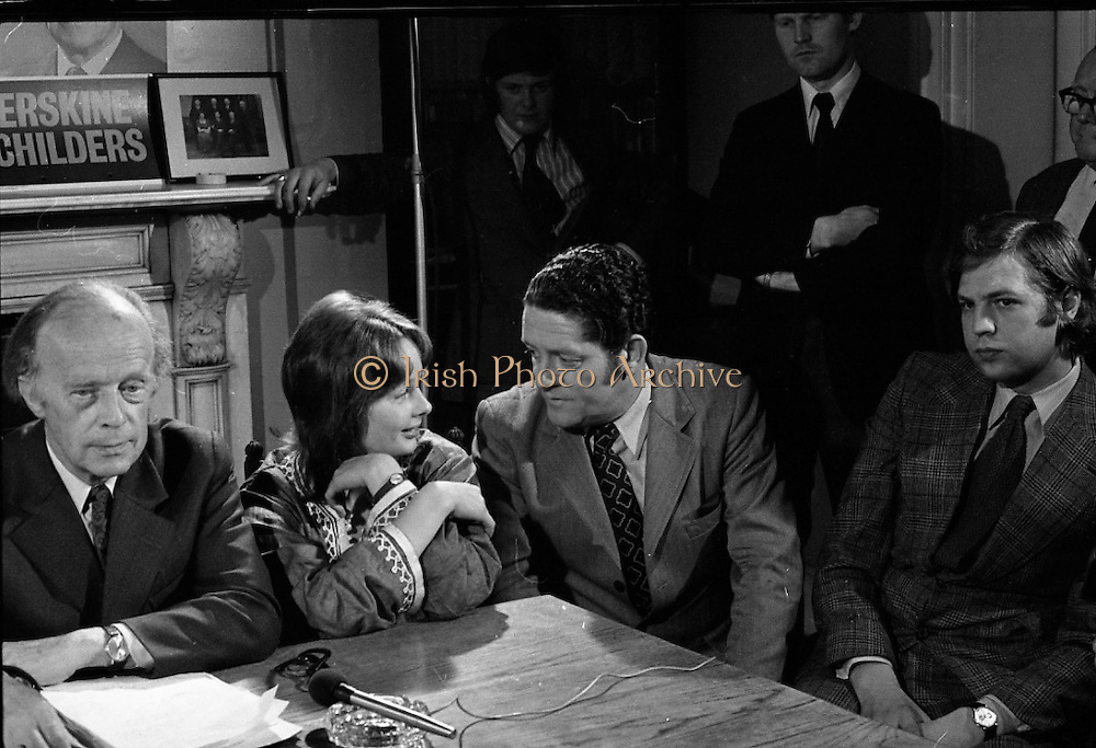 Erskine Childers Press Conference..1973..31.05.1973..05.31.1973..31st May 1973..At a press conference at Fianna Fail headquarters, Mr Erskine Childers, was confirmed as the winner of the presidential campaign. He won by a margin of 52% to 48% beating the favourite Tom O'Higgins,Fine Gael..Image of party colleague,Mr Brian Lenihan TD, engaging Nessa Childers in conversation during the press conference.