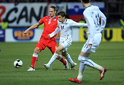 Jan Polak of Czech Republic  vs Zlatko Dedic of Slovenia at the 8th day qualification game of 2010 FIFA WORLD CUP SOUTH AFRICA in Group 3 between Slovenia and Czech Republic at Stadion Ljudski vrt, on March 28, 2008, in Maribor, Slovenia. Slovenia vs Czech Republic 0 : 0. (Photo by Vid Ponikvar / Sportida)