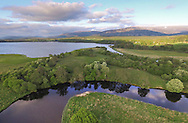 Aerial view over Insh Marshes NNR, Scotland.