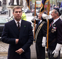 The Duke of York, Prince Andrew with Chief of Air Staff, Sir Peter Squire, during the 60th Anniversary service of The Commonwealth Air Plan, The St Clement Danes church, Strand, London, April 30, 2000. Photo by Andrew Parsons / i-images..
