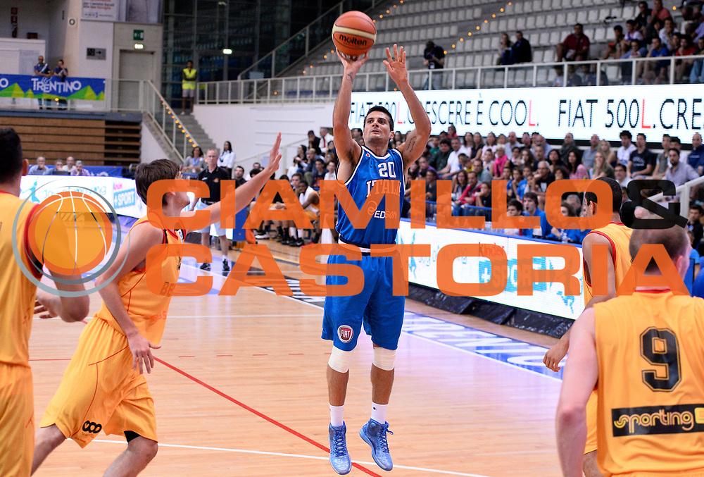 DESCRIZIONE : Trento Nazionale Italia Uomini Trentino Basket Cup Italia Belgio Italy Belgium<br /> GIOCATORE : Andrea Cinciarini<br /> CATEGORIA : tiro<br /> SQUADRA : Italia Italy<br /> EVENTO : Trentino Basket Cup<br /> GARA : Italia Belgio Italy Belgium<br /> DATA : 12/07/2014<br /> SPORT : Pallacanestro<br /> AUTORE : Agenzia Ciamillo-Castoria/R.Morgano<br /> Galleria : FIP Nazionali 2014<br /> Fotonotizia : Trento Nazionale Italia Uomini Trentino Basket Cup Italia Belgio Italy Belgium