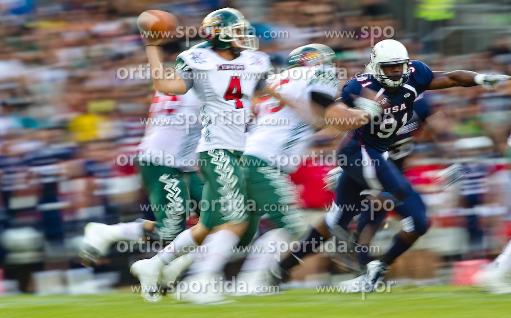 12.07.2011, Tivoli Stadion, Innsbruck, AUT, American Football WM 2011, Group A, United States of America (USA) vs Mexico (MEX), im Bild Feature, Wischer Pérez Rodrigo (Mexico, #4, QB) // during the American Football World Championship 2011 Group A game, USA vs Mexico, at Tivoli Stadion, Innsbruck, 2011-07-12, EXPA Pictures © 2011, PhotoCredit: EXPA/ J. Feichter