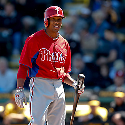 Mar 4, 2013; Bradenton, FL, USA; Philadelphia Phillies center fielder Ben Revere (2) reacts after being called out on strikes against the Pittsburgh Pirates during the top of the first inning of a spring training game at McKechnie Field. Mandatory Credit: Derick E. Hingle-USA TODAY Sports