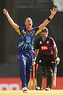 James McMillan of Otago Volts appeals for the wicket of Khuram Shahzad of the Faisalabad Wolves during the Qualifier 1 match of the Karbonn Smart Champions League T20 (CLT20) between Otago Volts and the Faisalabad Wolves held held at the Punjab Cricket Association Stadium, Mohali on the 17th September 2013<br /> <br /> Photo by Ron Gaunt/CLT20/SPORTZPICS<br /> <br /> <br /> Use of this image is subject to the terms and conditions as outlined by the CLT20. These terms can be found by following this link:<br /> <br /> http://sportzpics.photoshelter.com/image/I0000NmDchxxGVv4<br /> <br /> ENTER YOUR EMAIL ADDRESS TO DOWNLOAD