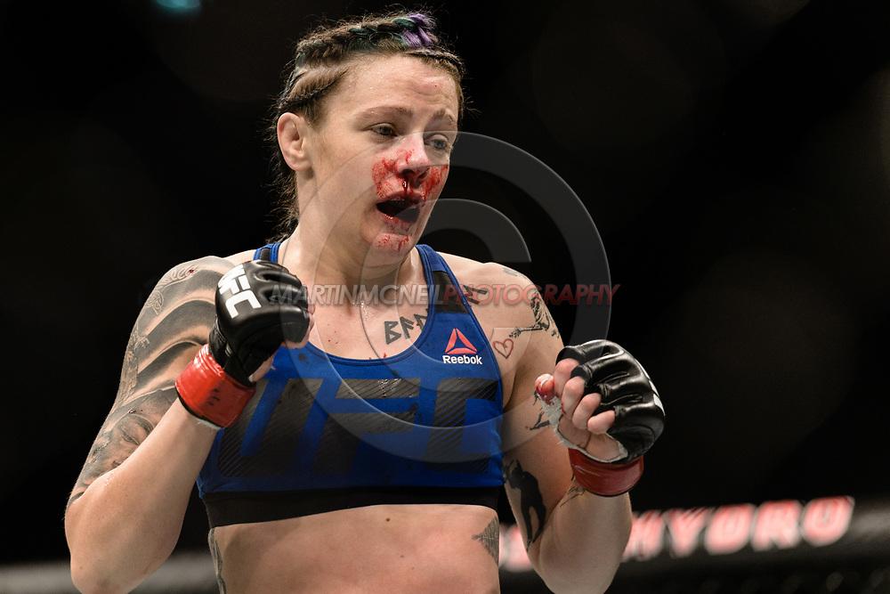 "GLASGOW, UNITED KINGDOM, JULY 16, 2017: Joanne Calderwood during ""UFC Fight Night Glasgow: Nelson vs. Ponzinibbio"" inside the SSE Hydro Arena in Glasgow, Scotland on Sunday, July 16, 2017."