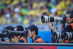 Fotojornalistas na partida entre Brasil x Chile, válida pelas oitavas de final da Copa do Mundo 2014, no Estádio Mineirão, em Belo Horizonte. FOTO: Jefferson Bernardes/ Agência Preview