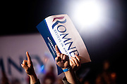 Supporters of GOP presidential candidate Mitt Romney wait for him at the Red Rock Casino in Las Vegas, Nev, February 4, 2012.