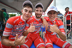 September 24, 2017 - Zhuhai, Guangdong, China - (Left-Right) Matteo Spreafico, Raffaello Bonusi and Kevin Rivera Serran (all Androni Sidermec Bottecchia team) awaiting for the Awards Ceremony at the end of the fifth and final stage of the 2017 Tour of China 2. .On Sunday, 24 September 2017, in Hengqin district, Zhuhai City, Guangdong Province, China. (Credit Image: © Artur Widak/NurPhoto via ZUMA Press)