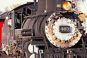 Steam train at the Cumbres and Toltec Scenic Railroad depot, Chama, New Mexico USA