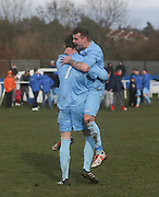 Fairfield's Barry Heggie (7) is congratulated after making it 4-0 from the penalty spot during his side's last 16 Scottish Cup clash with Cleland - Dundee Sunday Amateur Football<br /> <br />  - &copy; David Young - www.davidyoungphoto.co.uk - email: davidyoungphoto@gmail.com