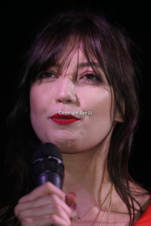 London, UK, 20th Dec 2017. Speaker Daisy Lowe protests calling upon the government to provide free sanitary products to every girl in the UK who receives free school meals at Richmond Terrace, London, UK.