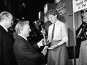 08/01/1988.01/08/1988.8th January 1988 .The Aer Lingus Young Scientist of the Year Award at the RDS, Dublin..Picture shows the Taoiseach Charles Haughey T.D., David Kennedy, Chief Executive, Aer Lingus and the Young Scientist of the Year, Siobhan Langan-O'Keeffe from Navan Community College, Co. Meath.