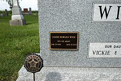 31 August 2017:   Veterans graves in Payne Cemetery in eastern McLean County.<br /> <br /> James Edward Wick  SP3 US Army  Jan 19, 1931  May 22 2014