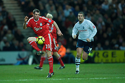PRESTON, ENGLAND - Saturday, January 3, 2009: Liverpool's Jamie Carragher in action against Preston North End during the FA Cup 3rd Round match at Deepdale. (Photo by David Rawcliffe/Propaganda)