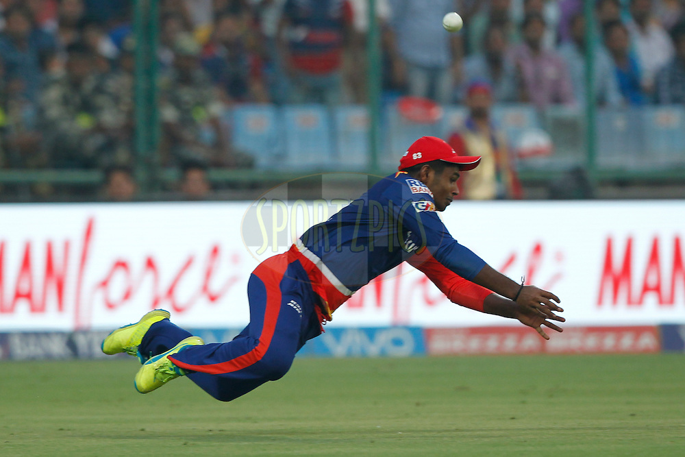 Sanju Samson of Delhi Daredevils in action during match 26 of the Vivo IPL ( Indian Premier League ) 2016 between the Delhi Daredevils and the Kolkata Knight Riders held at The Feroz Shah Kotla Ground in Delhi, India,  on the 30th April 2016<br /> <br /> Photo by Deepak Malik / IPL/ SPORTZPICS
