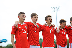 NEWPORT, WALES - Sunday, September 24, 2017: Wales players line-up to sing the national anthem before an Under-16 International friendly match between Wales and Gibraltar at the Newport Stadium. Callum King-Harmes, Owen Hesketh, Joshua Francombe, Owen Beck. (Pic by David Rawcliffe/Propaganda)