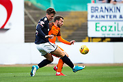 Dundee defender Jack Hendry (#22) challenges Dundee United forward Paul McMullan (#7) on the edge of the penalty box during the Betfred Scottish Cup match between Dundee and Dundee United at Dens Park, Dundee, Scotland on 9 August 2017. Photo by Craig Doyle.