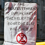 Police kettlled activists and planing to remove the boat on Day 5 - XRExtinction Occupy Parliament in demand the UK Govt to act of Climate Change by 2025 on 19 April 2019 at Oxford Street, London, UK.