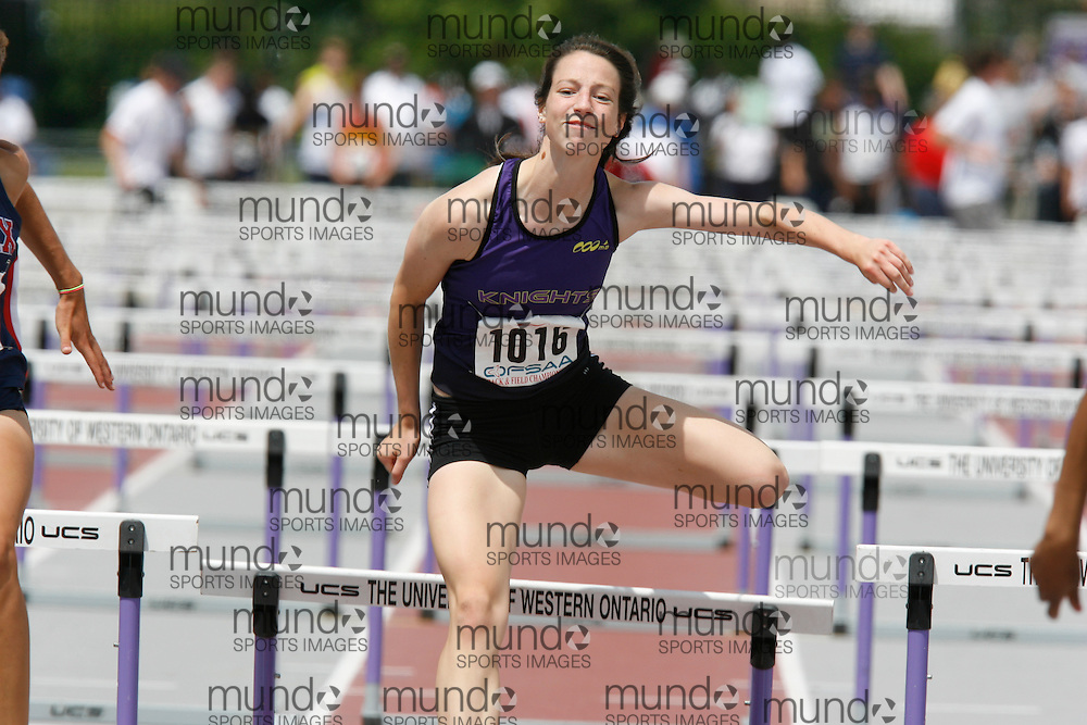 (London, Ontario}---04 June 2010) Serena San Cartier of Lo-Ellen Park - Sudbury competing in the sprint hurdles mentality at the 2010 OFSAA Ontario High School Track and Field Championships. Photograph copyright Dave Chidley / Mundo Sport Images, 2010.