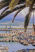 AFRICA, MOROCCO, TANGIER:  View of the port of Tangier with boats, ships, ferries, and the coast of Spain across the Strait of Gibraltar.