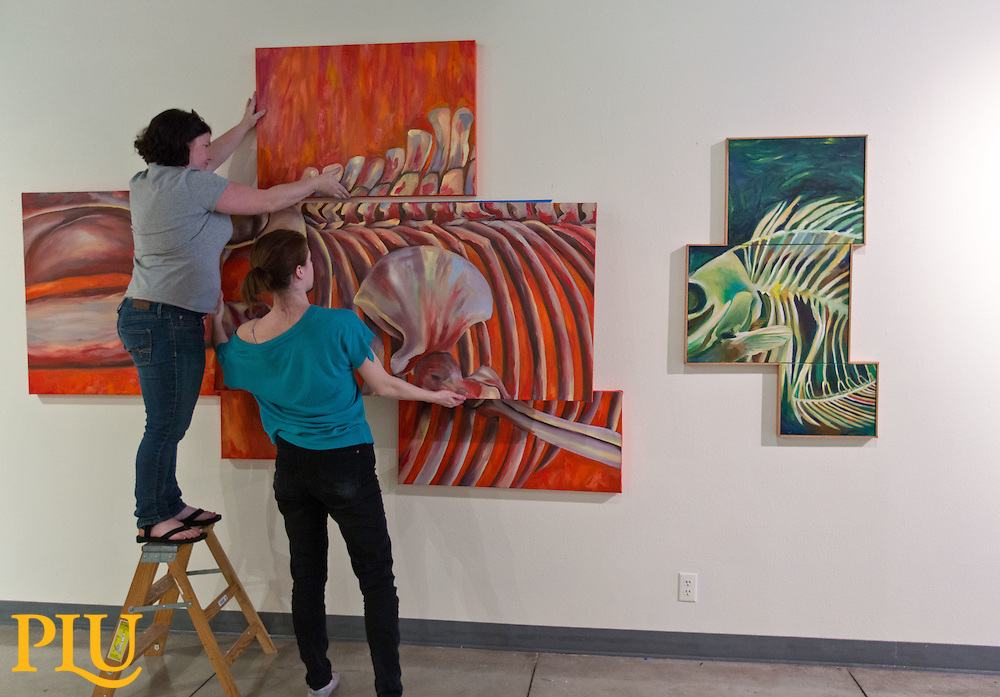 Hanging the spring student art show in the gallery of Ingram at PLU on Monday, April 20, 2015. (Photo: John Froschauer/PLU)