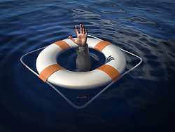 A life saver with the arm of a business man from under the water. Concept image to illustrate a bailout.